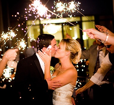 Wedding Kiss Under The Sparklers