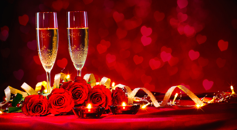 Heart and Candle Light Valentine's Day Proposal with Champagne, Chocolate and Roses