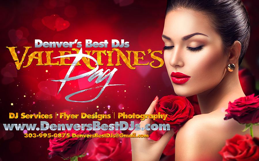 Denver's best DJs Valentine's Day Wedding make up photography flyer design and DJ services banner