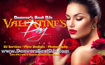 Denver's best DJs Valentine's Day Wedding make up photography flyer design and DJ services banner