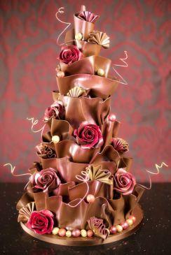 amazing chocolate cake with edible flowers