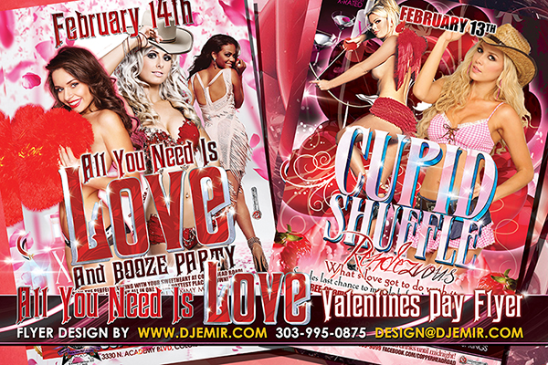 All You Need is Love and Cupid Shuffle Rendezvous Valentine's Day Party Flyer Designs Colorado Springs