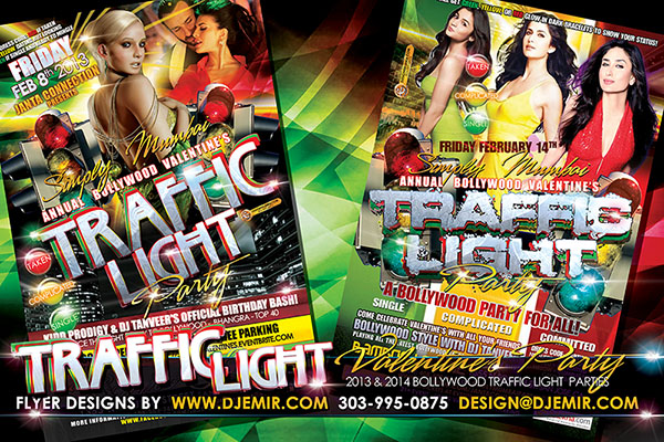 Amazing Flyer Design Bollywood Traffic Light Valentine Party Flyer Design