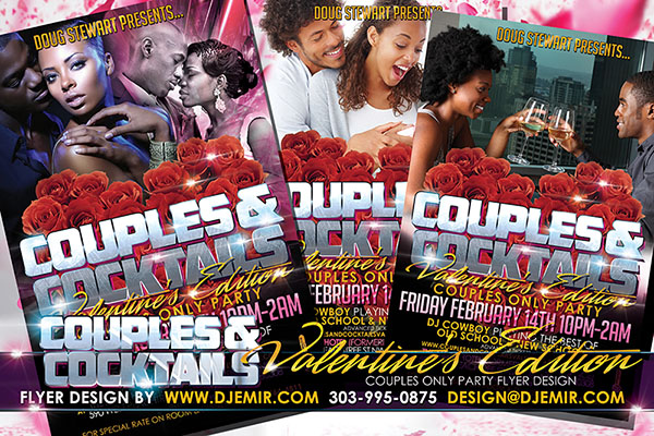 Couples and Cocktails Valentines Day Party Nightclub Flyer Design