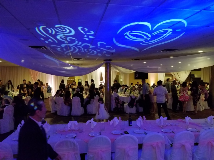 Wedding DJ service with Blue and Purple Dancelight and ceiling accent lighting with heart and wedding band shaped gobo light