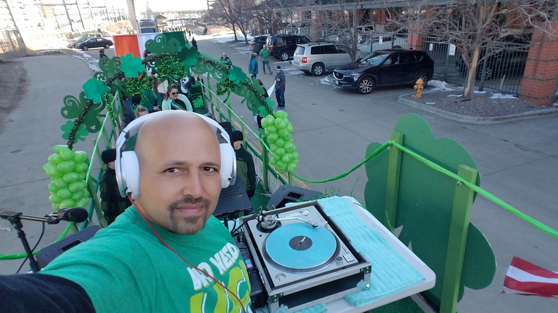 DJ Emir of Denver's Best DJs Official DJ Denver St. Patrick's Day Parade on Technics 1200 Turntables with Beats By Dre Pro Headphones